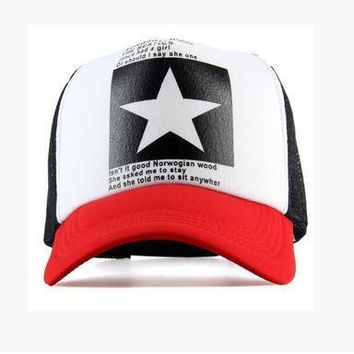 2017 summer New Five-pointed Big Star Pattern Mesh Baseball cap men hat Polo cap mains