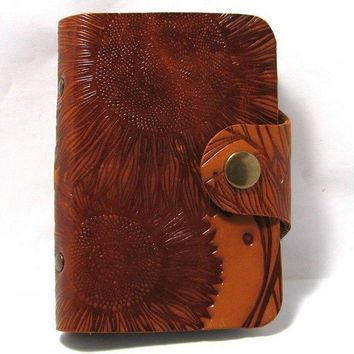 Leather business card holder with sunflower, Orange Leather card book, Card wallet, Leather wallet for business cards