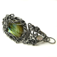 OOAK Silver wire wrapped bracelet with labradorite