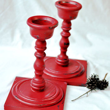 Large Rustic Red Candle Holders Set Pair Candlestick Chippy Distressed Cottage Chic Farmhouse Decor