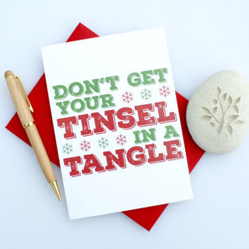 Christmas Card, Sexy Christmas, Naughty Christmas, Funny Christmas, Cute Christmas, Seasonal Card, Romantic Christmas, Tinsel & Tangle