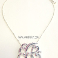 Monogrammed Single Initial Gold Cut Out Necklace | Necklaces | Marley Lilly