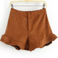 Ruched-hem High Waist Short in Khaki or Black