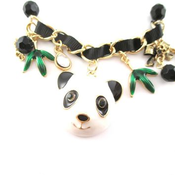 Animal Themed Panda Bear and Bamboo Charm Bracelet | DOTOLY