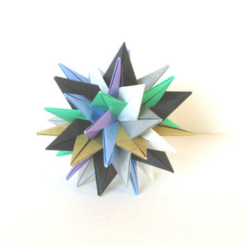 "Modular Origami Ball 4"", Christmas Ornament, Paper Sculpture, Spiky Geometric Decoration Muted Colors"