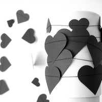 Black paper heart garland, romantic home decor, halloween garland, party decor, wedding decoration, children room decor
