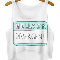"White ""HELLO I'M DIVERGENT"" Dip Hem Crop Top"
