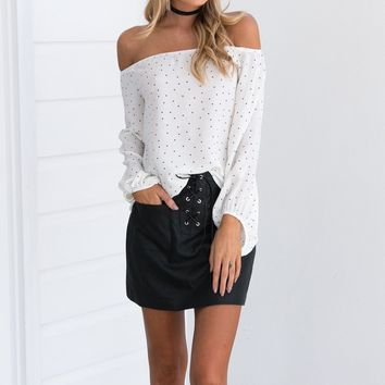 Off Shoulder Polka Pot Long Sleeve Loose Blouses