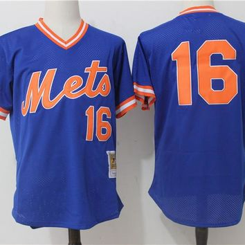 Men's New York Mets Dwight Gooden Mitchell & Ness Royal Cooperstown Mesh Batting Practice Jersey