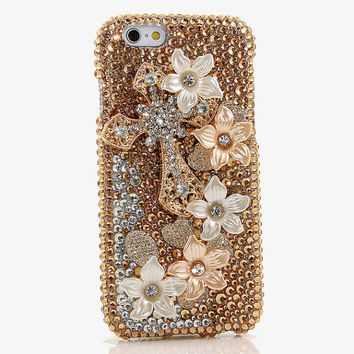 iphone 6s 6 Plus 5 5S 5C 4S / Samsung Galaxy S4 S5 S6 Note Edge Handcrafted Case Cover 3D Luxury Bling Crystal Golden Cross Flower Faith_795