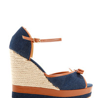 Bow Front Denim Wedge