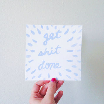 Motivational wall art / pastel lavender Get Shit Done / motivational wall sign
