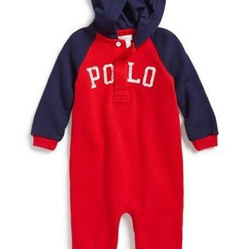 Infant Boy's Ralph Lauren Hooded Raglan Sleeve Romper,