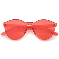 GET DAZED Red Tinted Rimless Sunglasses at FLYJANE