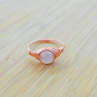 Ring, Rose Quartz ring, Rose Quartz  jewelry,wire ring, wire wrapped ring, gemstone ring,boho ring, custom ring,healing stone, natural stone