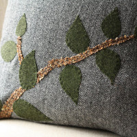 Green Leaves and Branches Accent Pillow Cover Hand Appliqued