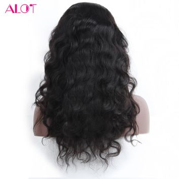 ALOT Body Wave 360 Lace Frontal Wig Brazilian Human Hair Wigs With Baby Hair PrePlucked Hairline Remy Hair 150%Density 10-22Inch