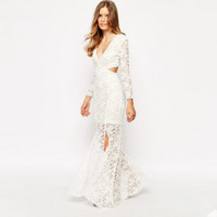 Fashion Solid Color Deep V Hollow Hook Flowers Lace Long Sleeve Split Maxi Dress