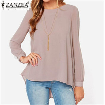 New Brand 2015 Summer Style Women Blusas Sexy Casual Loose Chiffon Tops Long Sleeve Solid Shirts Ladies Blouses Plus Size