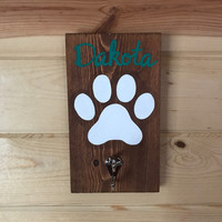 Custom Dog Leash Hook with Name Wood Sign Dog Parent Gift