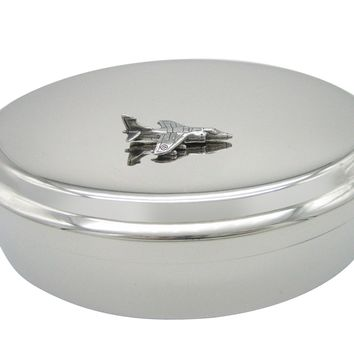 Gray Toned Textured Harrier Jet Plane Pendant Oval Trinket Jewelry Box