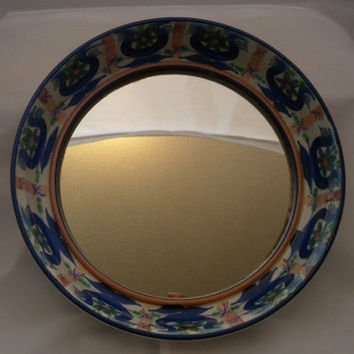 Alumina Fajance ceramic framed mirror - pattern 65A 2969. Marianne Johnson Hand-painted design. Superb 1960s Danish design.