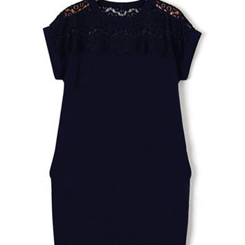 Short Sleeve Lace Accent Shift Mini Dress