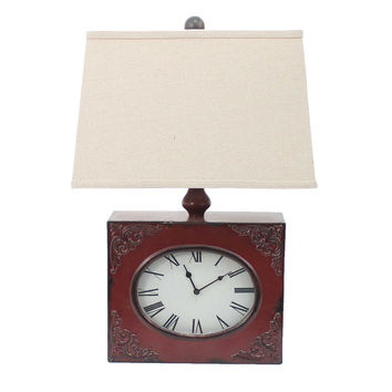 Vintage Red Table Lamp with Metal Clock Base