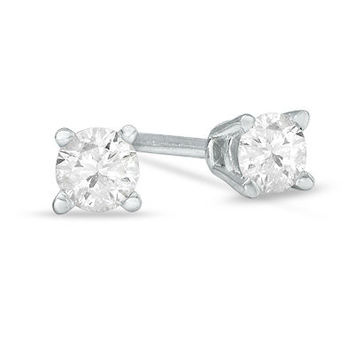 1/4 CT. T.W. Diamond Solitaire Stud Earrings in 14K White Gold - View All Earrings - Zales