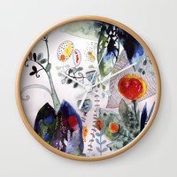 botanical whimsy Wall Clock by mariannatankelevich