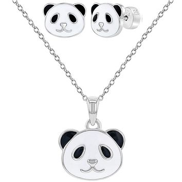 925 Sterling Silver White Black Enamel Panda Bear Set Necklace Earrings Girls