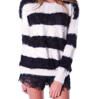 Cozy Up Sweater Top - Black Stripe