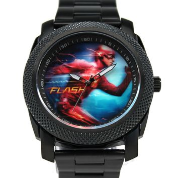 The Flash Grant Gustin Stainless Steel Black Watch (FLT8004)