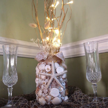 Unity Candle Gold, Seashell Wedding Centerpiece, Beach Decor, Starfish Lighting