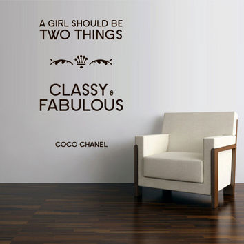 Wall Vinyl Sticker Decals Decor Art Bedroom Design Mural Words Sign Quote Coco Chanel Girl Fabulous Gllassy (z3148)