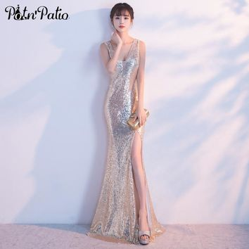 PotN'Patio Sexy V-neck Slit Mermaid Prom Dresses Shoulder Straps Sleeveless Floor-Length Sequined Prom Dresses Long 2017