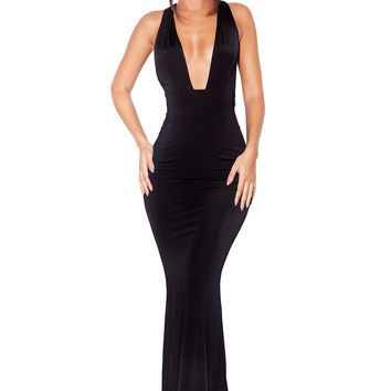 Clothing : Max Dresses : 'Miacova' Black Silky Jersey Plunge Maxi Dress