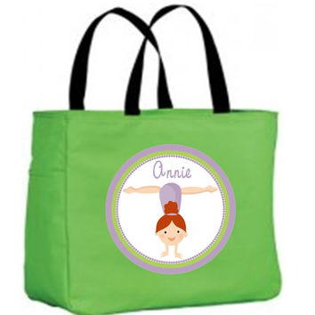 Girl Gymnast with Red Hair Personalized Lime Tote Bag