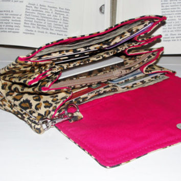 Necessary Clutch Wallet, RTS, Great Gift, Handmade with Leopard Print with Hot Pink Lining fabric, NCW, Credit Card Slots, iPhone, Wristlet