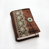 Fabric Journal, Diary, Sketchbook, vintage lace, blank stained paper