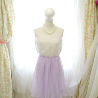 Fairytale Lilac Purple Lavender Lace Chiffon Flower Sun Dress / Tea Length Dress / cocktail prom /Rosettes French Bridesmaid Dress -