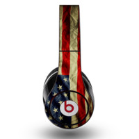 The Dark Wrinkled American Flag Skin for the Original Beats by Dre Studio Headphones