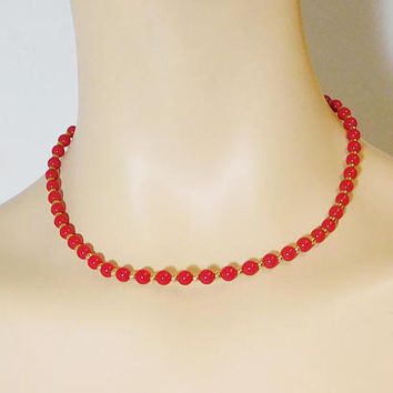 "Red Gold Bead Choker Necklace Lightweight Vintage Costume Jewelry Size 16 1/2"" Plastic Beads Stamped Tag Monet"