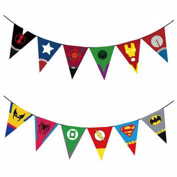 Superhero Avengers Painting Party Flags Paperboard Funny Party Decoration Baby Shower Birthday Supplies Banner