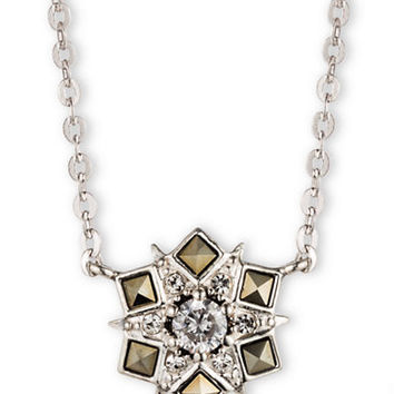 Judith Jack Crystal and Marcasite Geometric Pendant Necklace