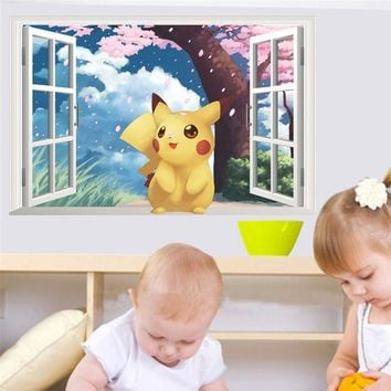 Cartoon Pikachu Pokemon Go Wall Stickers For Kids Rooms Children's Gift 3d Window Wall Decals Poster Nursery Decor Mural