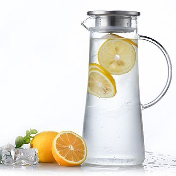 SPXU 1.5L Elegant Glass Pitcher with Stainless Steel Lid and Silicone Seal