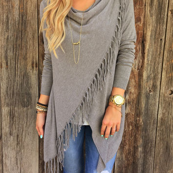 Grey Drape Long Sleeves Assymetric Fringed Top