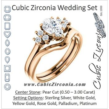 CZ Wedding Set, featuring The Gwendolyn engagement ring (Customizable Pear Cut 7-stone Prong-Set Design)