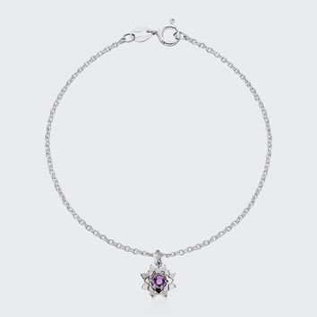 Protea Charm Bracelet with Stone - silver/amethyst